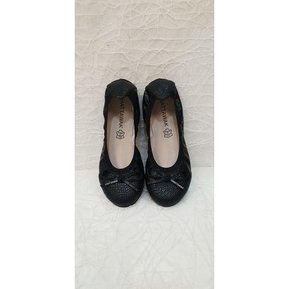 Ballerine plate noire croco Chattawak