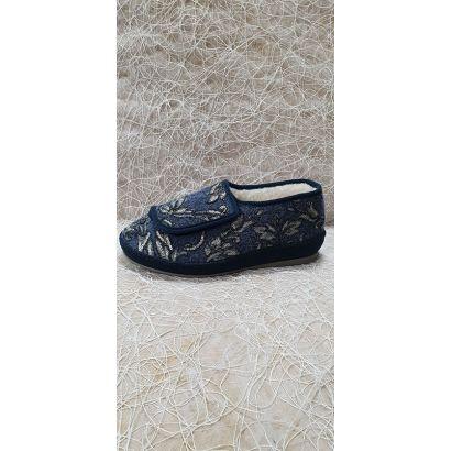 Pantoufle velcro fourrée bleu Schawos