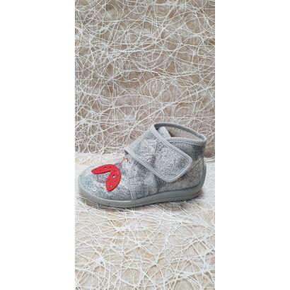 Pantoufle velcro papillon gris Bellamy