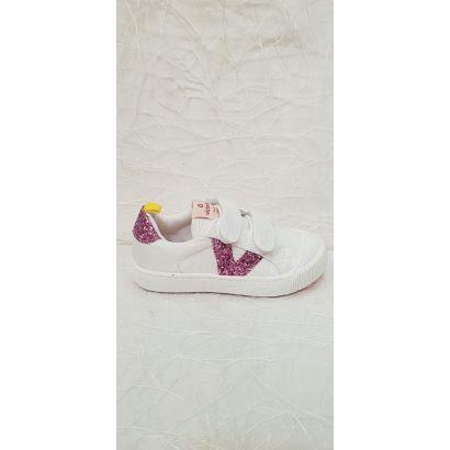 Chaussure à velcro blanche V rose Victoria