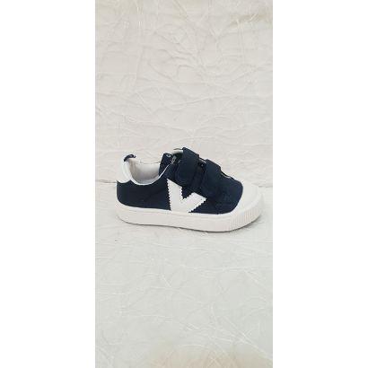 Chaussure à velcro V tissu bleu marine Victoria