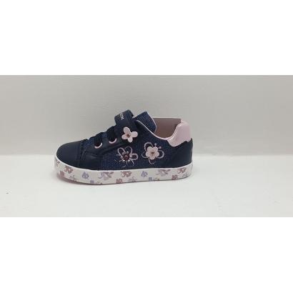 Basket jeans fleurs rose Geox