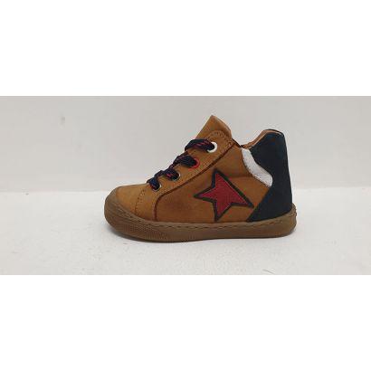 Chaussure à lacets camel avec étoile rouge Bellamy