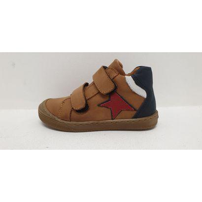 Chaussure 2 velcros camel avec étoile rouge Bellamy