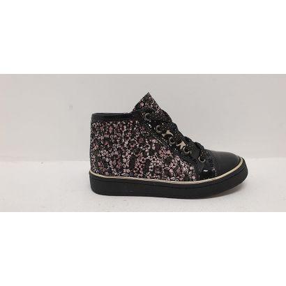 Chaussure à lacets fleurie rose-noire Bellamy