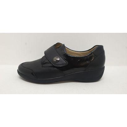 Chaussure velcro noire bout vernis Goldkrone