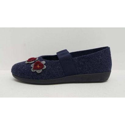 Pantoufle avec élastique feutrine bleu avec fleurs Rohde