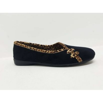 Pantoufle ballerine noire-léopard Chic & relax