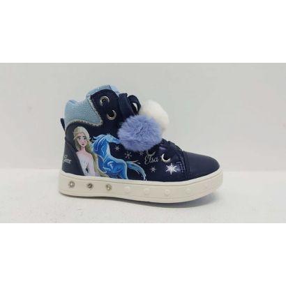 Chaussure montante reine des neiges bleu pompons Geox