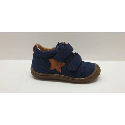 Chaussure 2 velcros bleu marine et étoile camel Bopy
