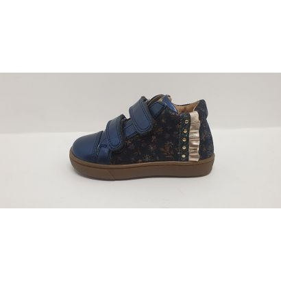 Chaussures 2 velcros imprimées marine-acier Babybotte
