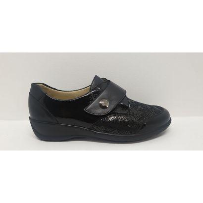 Chaussure velcro noire imprimé reptile Goldkrone