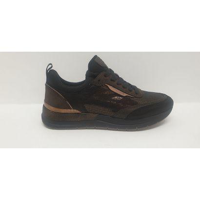 Basket bicolore noire-marron brillant
