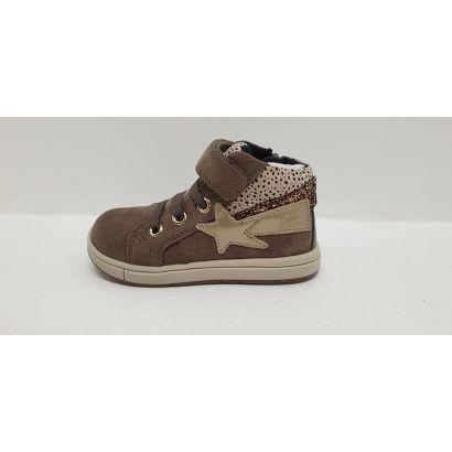 Chaussure un velcro avec lacets élastiqué étoile daim beige Geox